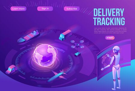 Isometric delivery service with truck, smart logistics company illustration, artificial intelligence managing transport system, robot watching screen with map, airplane, car, landing page template 矢量图像