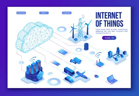 Internet of things infographic illustration, neon blue isometric 3d concept with smart technology, globe glowing icon, computer network with night glowing background