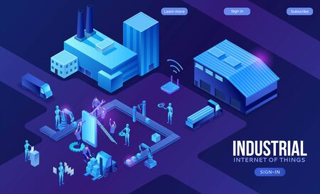 Industrial internet of things infographic illustration, blue neon concept with factory, electric power station, cloud 3d isometric icon, smart transport system, mining machines, data protection Illustration
