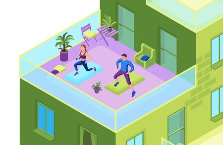 Man and woman doing physical fitness exercise on the balcony of an apartment building, isometric 3d vector illustration with sport training, healthy lifestyle concept