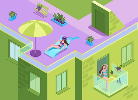 Girl in bikini sunbathing on the roof of residential building during quarantine time, woman getting a suntan at the balcony of apartment house, stay home and safe concept, 3d isometric illustration