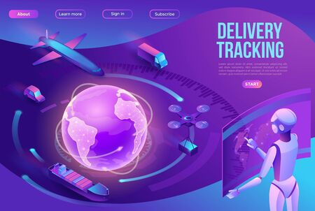 Isometric delivery service with truck, smart logistics company illustration, artificial intelligence managing transport system, robot watching screen with map, airplane, car, landing page template Ilustração