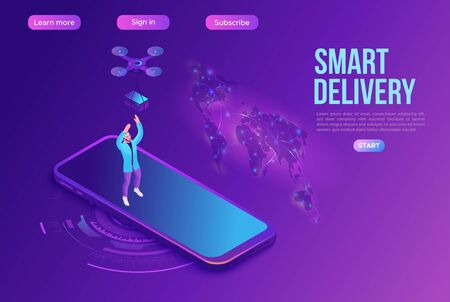 Drone delivering parcel to a man, quadcopter, concept of delivery, box transportation innovation technolodgy, 3d isometric flat vector illustration, landing page template