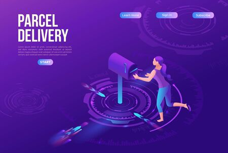 Girl receive parcel from standing postal box, post delivery concept, landing page template, ui design, 3d isometric vector illustration on purple background