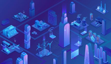 Smart grid city 3d isometric infographics, blue neon concept with solar panels and electricity pole, nuclear, thermal power plant, hydroelectric power station, transport system, 3d isometric icons Stock Illustratie
