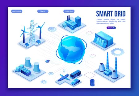Smart grid 3d isometric infographics, blue neon concept with solar panels and electricity pole, nuclear and thermal power plant, hydroelectric power station, transport system, globe 3d isometric icon, Stock Illustratie