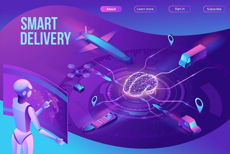 Isometric delivery service with truck, smart logistics company illustration, artificial intelligence managing transport system, robot watching screen with map, airplane, car, landing page template Illustration