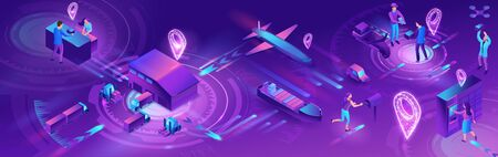 Isometric delivery service with truck, horizontal banner, smart logistics company illustration, artificial intelligence managing transport system, robot watching screen with map, airplane, car