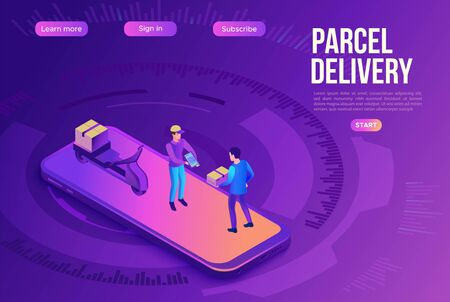 Delivery man on bike carrying parcel to client, delivering service concept, smartphone, box, online shop, logistics company, 3d isometric vector illustration Stock Illustratie
