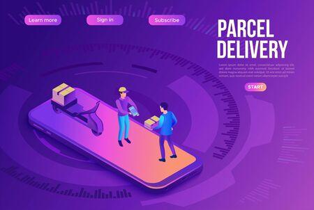 Delivery man on bike carrying parcel to client, delivering service concept, smartphone, box, online shop, logistics company, 3d isometric vector illustration Illustration