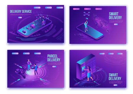 Isometric delivery service with truck at warehouse, landing page set, ui design template, smart logistics company illustration, shipment by plane, car, maritime transport, people receive parcel