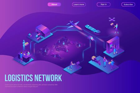 Logistics company landing page, process of delivering parcel, warehouse with trucks and boxes, smart technology concept, web site template, shipment by plane, car, maritime transport, by postal drone Stock Illustratie