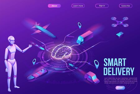 Isometric delivery service with truck, smart logistics company illustration, artificial intelligence managing transport system, robot watching screen with map, airplane, car, landing page template Stock Illustratie