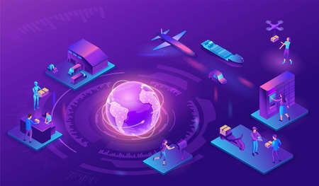 Global delivery service illustration with a process of delivering parcel, warehouse with trucks and boxes, shipment by car, maritime transport, people receive goods by courier, drone, in packstation Illustration