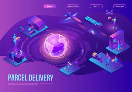 Global delivery service landing page, illustration with a process of delivering parcel, warehouse with trucks and boxes, shipment by car, maritime transport, people receive goods by courier, drone
