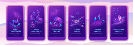 Isometric delivery service with truck at warehouse, mobile app template set, smart logistics company illustration, shipment by plane, car, by postal drone, people receive parcel at packstation Stock Illustratie