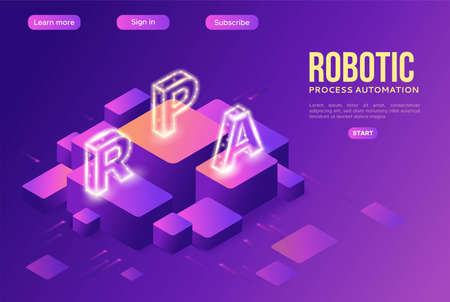 Robotic process automation landing page template with robots working with data, arms moving files, extracting information from websites, digital technology service, 3d isometric vector illustration Stock Illustratie