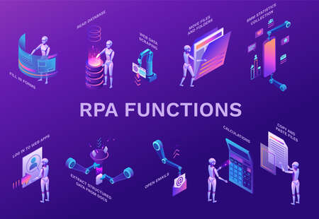 Robotic process automation elements set with robots working with data, arms moving files, extracting information from websites, digital technology service, 3d isometric vector illustration