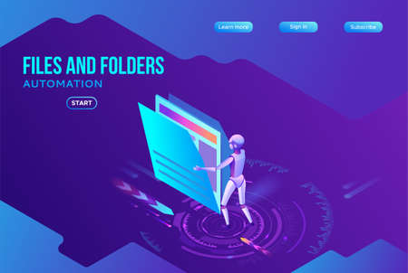 Data analysis, files and folders, robotic arm analyzes documents, kpi analytics, digital technology in finance, big research isometric illustration, 3d isometric background, website template