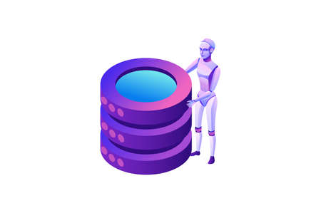 Robotic process automation concept with robot and database, robotic character holding cylinders, extracting information from websites, digital technology service, 3d isometric vector illustration Stock Illustratie