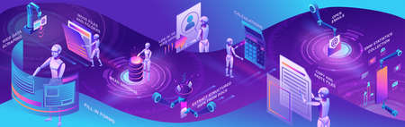 Robotic process automation horizontal banner with robots working with data, arms moving files, extracting information from websites, digital technology service, 3d isometric vector illustration