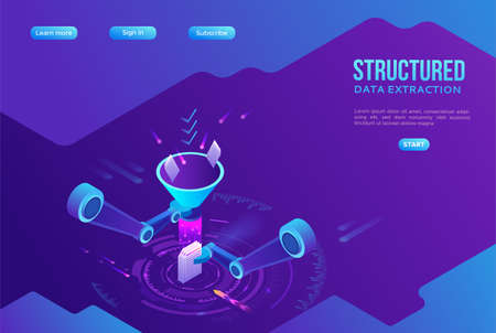 Structured data extraction, robotic arm analyze diagram, kpi analytics, digital technology in finance, funnel, artificial intelligence concept, big research isometric illustration, 3d background