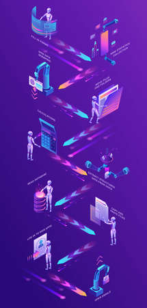 Robotic process automation vertical concept with robots working with data, arms moving files, extracting information from websites, digital technology service, 3d isometric vector illustration Illustration