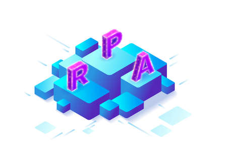 Robotic process automation concept with robots working with data, arms moving files, extracting information from websites, digital technology service, 3d isometric vector illustration