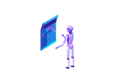 Robotic process automation concept with robot calculating, artificial intelligence extracting information from websites, digital technology service, 3d isometric vector illustration