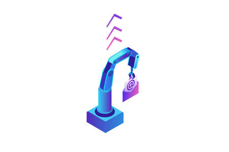 Email robotic automation, robotic arm holding message, analysis of documents, kpi analytics, digital technology in finance, 3d isometric illustration, purple background, website template
