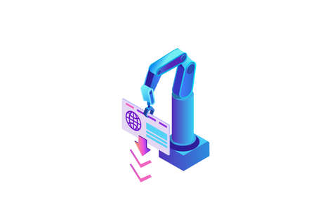 Robotic process automation lwith robotic arm scraping data from website, login to account, extracting information from internet, digital technology service, 3d isometric vector illustration Illustration