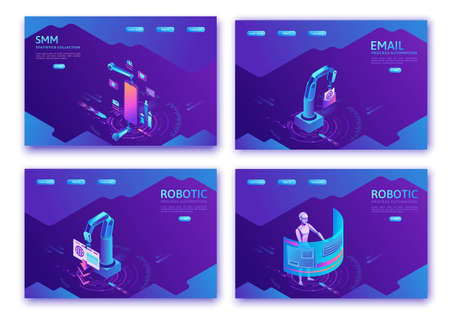 Robotic process automation landing page template with robots working with data, arms moving files, extracting information from websites, digital technology service, 3d isometric vector illustration Illustration
