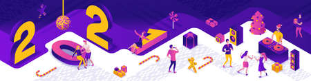 Isometric illustration of 2021 new year dance party, dj playing disco at night event, holiday banner, gift icon, happy people enjoy music, 3d vector purple background
