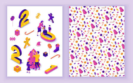 New year 2021 isometric greeting card, 3d illustration, print 2 side template, family celebrating winter holiday party, christmas event concept, parents, cartoon people together, purple color Illustration