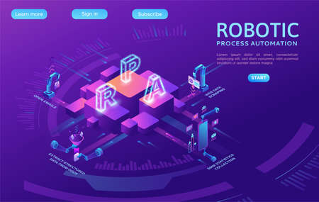 Robotic process automation concept with robots working with data 向量圖像