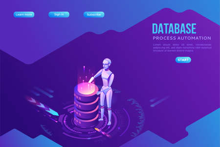 Robotic process automation landing page template with robots and database, robot holding cylinders, extracting information from websites, digital technology service, 3d isometric vector illustration 일러스트