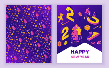 New year 2021 isometric greeting card, 3d illustration
