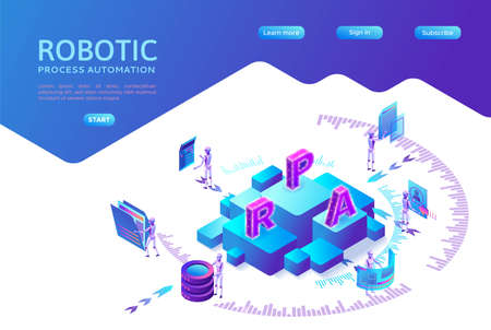 Robotic process automation landing page template with robots working with data