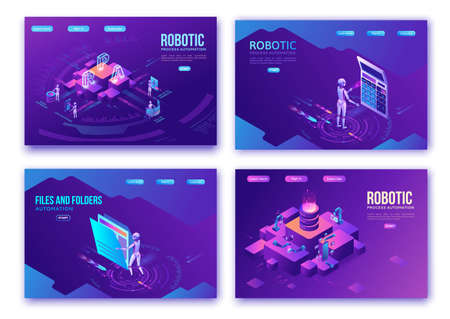 Robotic process automation landing page template with robots working with data, arms moving files, extracting information from websites, digital technology service, 3d isometric vector illustration Иллюстрация