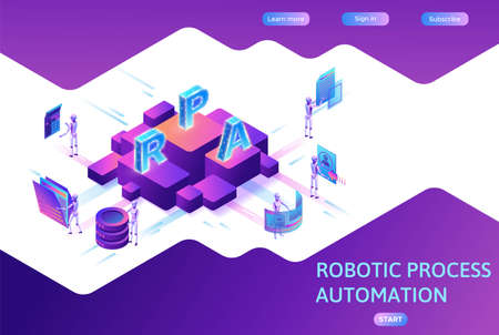 Robotic process automation concept with robots working with data Иллюстрация