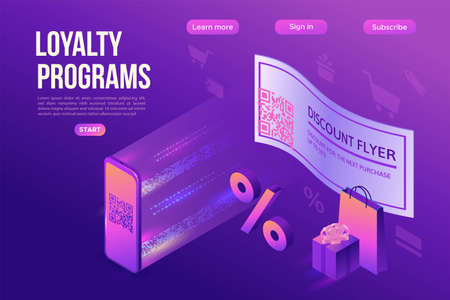 Discount coupon with QR code, scanning voucher by smartphone to get a special offer, loyalty program mobile application, 3s isometric infographic vector illustration, purple landing page