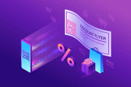 Discount coupon with QR code, scanning voucher by smartphone to get a special offer, loyalty program mobile application, 3s isometric infographic vector illustration, purple gradient sale concept Иллюстрация