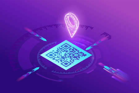 GPS navigation by using QR code, mobile application to find location on the map, tag scanning to identify the place, 3d isometric vector illustration, purple gradient