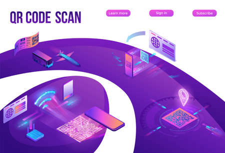 QR code scan isometric infographics with phone making payment, smartphone log in to account, generates url of website, online pay concept, 3d vector illustration of mobile application Ilustração