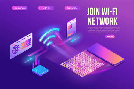 Wi fi network join by QR code, wireless technology connection with computer, smartphone and laptop, 3s isometric infographic vector illustration, purple gradient concept, landing page template