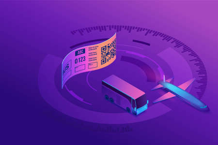Airline or bus tickets with qr code, modern technology for label scanning, boarding pass for airplane, 3d isometric vector illustration