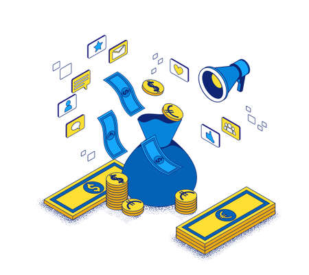 Revenue on ad spend concept, return investment from marketing campaign 3d isometric illustration, business people analyze advertising report, financial success background