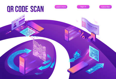 QR code scan isometric infographics with phone making payment, smartphone log in to account, generates url of website, online pay concept, 3d vector illustration of mobile application 版權商用圖片