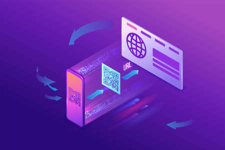 Url code generating by qr code, access to the website by scanning tag, mobile application for smartphone, 3d isometric vector illustration
