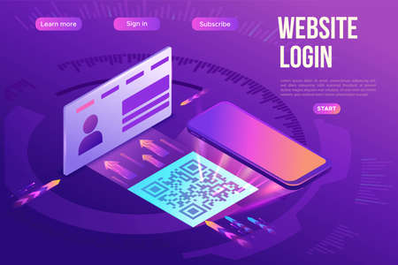 Register on the website by using qr code, user enters the web page working with interface, access to account, 3d isometric vector illustration, purple gradient